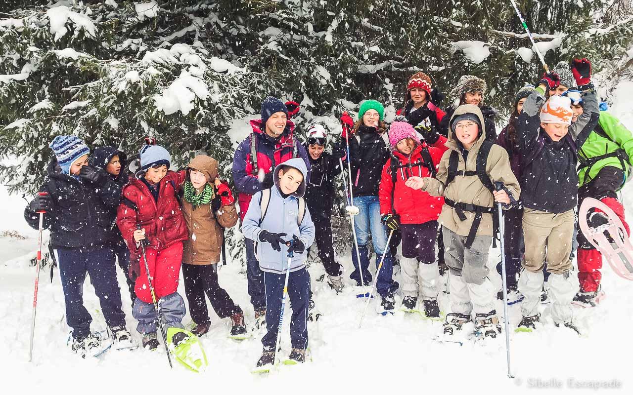 Raquette à neige groupe scolaire Ariège